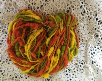 Bulky handspun art yarn, fine merino handspun yarn 115grams 37 yards chunky lemon lime orange