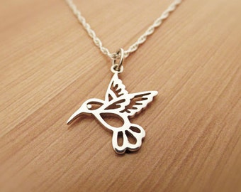 Hummingbird Necklace, Sterling Silver Humming bird Necklace, Bird Necklace Yoga Necklace, Hummingbird charm, Chain