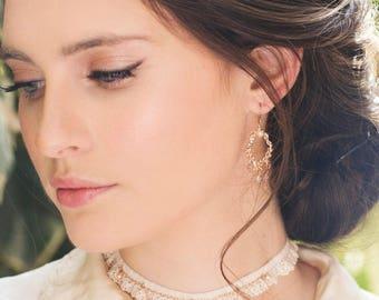Christmas Earring, Rose Gold Dangle Bride Earring, Chandelier Bride Earring, Vintage Style Bride Earring, Delicate Earring, Wedding Earring
