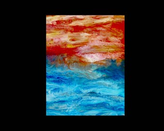 ACEO Ocean Sunrise Print, Limited Edition, ACEO, ACEO Print, Aceo Art Card, Aceo painting, Aceo Ocean, Aceo Sunrise, Artist Trading Cards