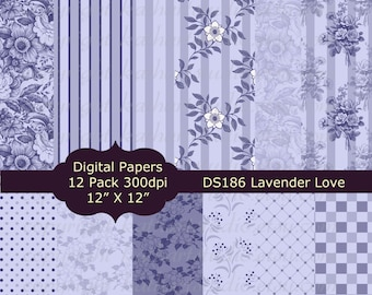Instant Download - Purple Floral Lavender Love Digital Paper pack Scrapbooking, Card Making, Invites, Backgrounds DS186