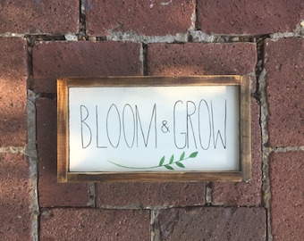 Bloom & Grow wood sign, rustic decor, wall hanging, herb sign, farmhouse decor, handmade
