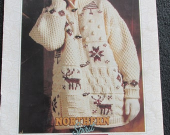 PB86 Bernat Vol 6 No 1295 Northern Spirit Bulky Weight Knit Sweaters Patterns Craft Book