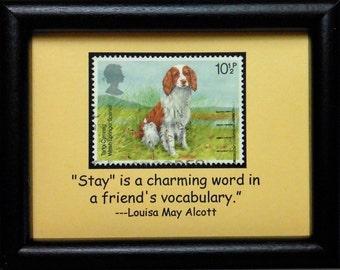 Welsh Springer Spaniel Dog -Handmade Framed Postage Stamp Art 0419W
