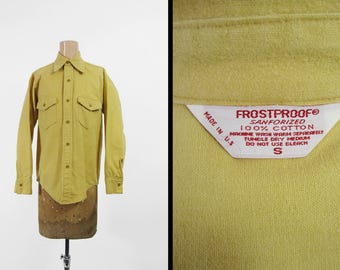 Vintage 70s Frostproof Chamois Shirt Yellow Long Sleeve Button Up Made in USA - Small