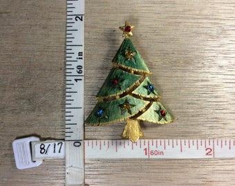 Vintage Gold Toned Pin Brooch Christmas Tree Red Blue Green Yellow Rhinestones Green Enamel Used