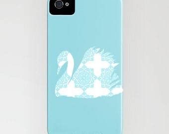 Swan with blue floral design on phone case-  damask bird, bird on phone case, Samsung Galaxy S7,  iPhone 6S, iPhone 6 Plus , iPhone 8