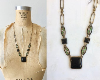 Mingei enamel necklace | antique 30s necklace | brass and enamel 30s necklace