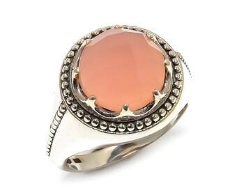 Natural Rose Quartz Round Gemstone Ring 925 Sterling Silver R954