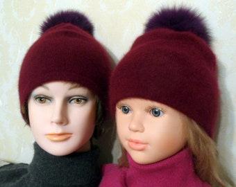 Matching pom pom beanie for Me and my Mummy-Maroon angora & wool beanie with purple 5 inches real fur pom pom-Winter beanie with pom pom