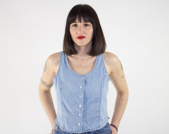 Vintage Denim Tank Top | 90s Crop Button-down Jean Tank Vest