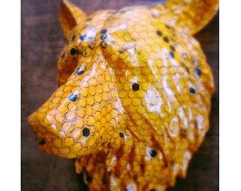 Honey Bear  |  Animal Head Paper Art Wallpaper Sculpture