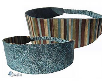 Blue Floral Headband - Striped Headband - Reversible Headband - Mother's Day Gift - Gift for Her - Bandeau Headband - Bandana Headband