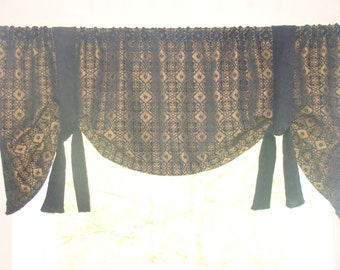Window Valance, Tie Up Valance, Black Chenille and Gold, Modern Valance Reversible fabric