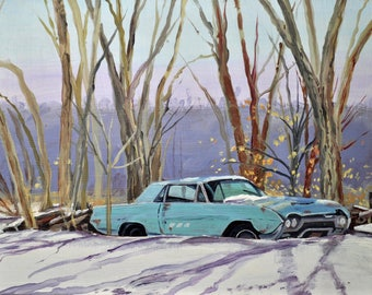 Turquoise Tbird    by Jim Page, Original Oil on wood panel, antiqued gold plein aire frame, 9 x 12