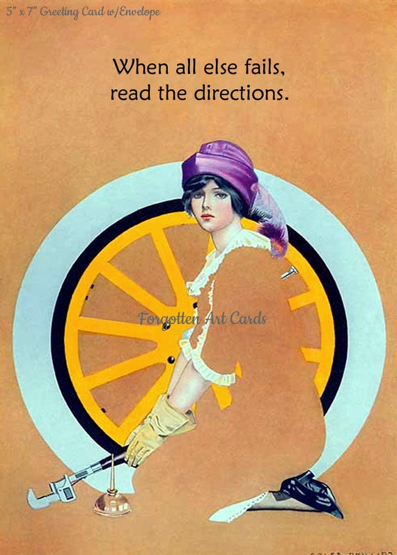 """When All Else Fails Read The Directions Coles Phillips Fadeaway Lady 5""""x7"""" Greeting Card + Envelope Art Deco Car Tire Forgotten Art Card"""