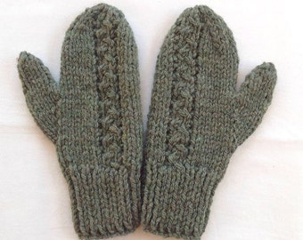 Womens green knit mittens - Wool mix mittens - Hand knit wool mittens - Gift for women