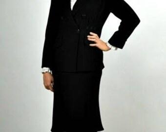 1940s Style Suit, 40s Womens Suit, Zelda Suit, Vintage Designer Clothing, 80's Suit, Size Large, Professional Suit, Office Suit, 80s Suit