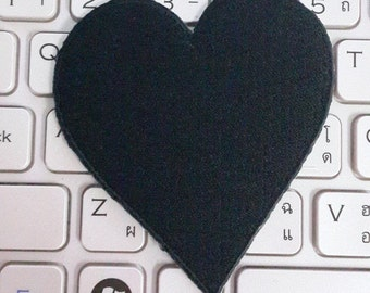 Heart Iron on patch - Black Heart Applique Embroidered Iron on Patch