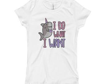 I do what I want narwhal nautical unicorn Girl's T-Shirt