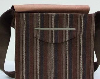 Burgundy Blue and Brown Stripe Large Wool Messenger Bag