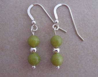 olive green jade earrings sterling silver dangle