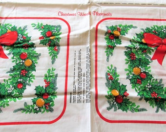 christmas wreath placemats vintage cotton craft panel