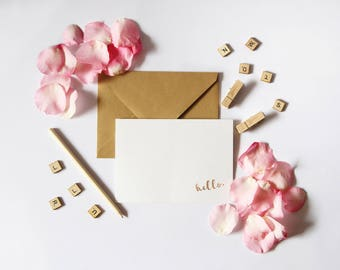 Set of 12 Hello Notecards // Foil // Notecard // Gold // Real // Handmade // Note // Card