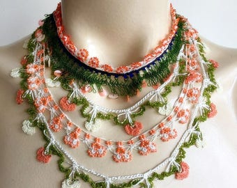 Crochet Necklace-Beaded Crochet Necklace-Oya Necklace -Crochet with salmon ,orange,green,black colors