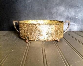 Vintage Ornate Sheffield Silver Plated on Copper Holland Ware Hot Dish Holder Casserole Trivet