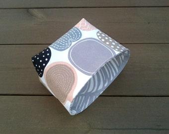 Waterproof fabric basket organizer from coated Marimekko fabric Kompotti, neutral storage bin container, gift basket, nursery bathroom decor