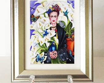 Art Print, Frida Kahlo Print, Framed Art Print, Framed Frida Art Print, Flower Art Print, Mexico, Mexican Art Print