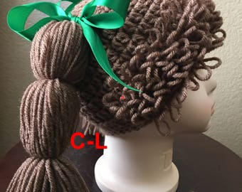 Cabbage Patch hat,for adults,teens,child's Babies,Halloween Costume,photo prop,Cabbage Patch wig,Crochet cabbage patch doll hat,Color Choice