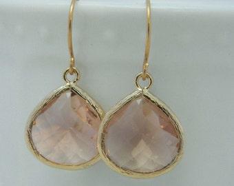 Peach Earrings, Gold Earrings, Bridesmaid Earrings