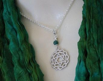 Heart Chakra Necklace, Mandala Pendant, Chakra Jewelry, Jade Necklace, Anahata, Heart Chakra, Silver Necklace, Yoga Jewelry, Healing Jewelry