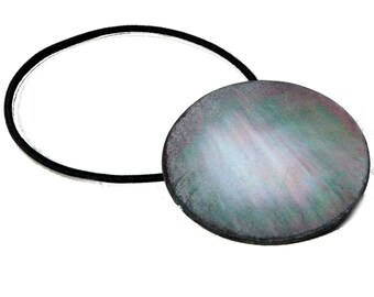 Iridescent Ponytail Holder made from Mother of Pearl Antique Button, Aurora Borealis Hues of Pink, Blue, Green, Pearly White, Hair Accessory