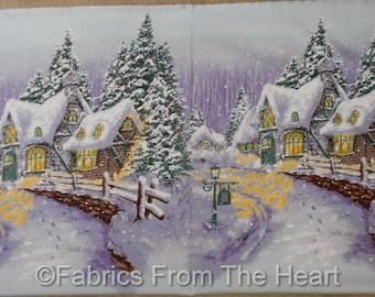 "Snow Chateau Winter Cottage Home Scene 23"" Panel Michael Miller Cotton Fabric"