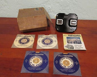 Sawyers View-Master Set with 4 Slides, Original Box, and Brochure 1940s