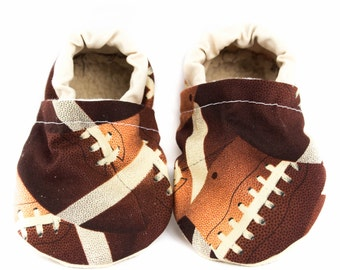 Football baby shoes, NFL, Brown, Tan, baby moccs, moccasins, baby booties, crib shoes, summer baby, baby gift, baby shower gift