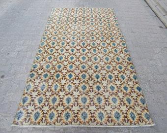 4.8x8.8 Ft Vintage decorative Turkish art deco rug