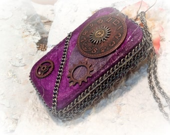 Steam Punk, Steampunk, Credit Card Case, Stash Box, Altered Altoid Tin, Change Purse,  Cosplay Accessory, Metal Wallet, MADE TO ORDER