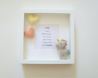 Amigurumi unicorn frame unique personalized gifts photo gift ideas balloon baby birthday wedding gift ideas personalized gifts photo frame