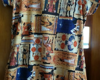 Awesome 90s polyester Egyptian pattern shirt size M