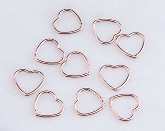 20Pcs-Small Wire Heart Link Connector,10mm x 9mm Silver, Gold Filled, Rose Gold Filled,Heart Connectors, Necklace Findings, CM191LC