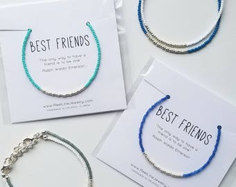Best Friends Bracelet, Modern SILVER Friendship Bracelet, friend gifts, gift for friend, bestie, BFF, best friend bracelet, friend jewelry,