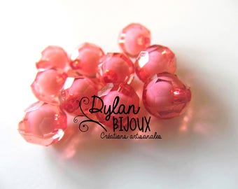 Faceted acrylic bead 10 mm / light red