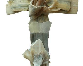 Unique seashells hanging Cross, made with naturally broken seashells, shells found by artist on beach, beach wedding gift, housewarming gift