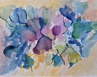 Flower Painting Abstract Painting Watercolor Flowers Floral Painting Original Watercolor Painting Blue Flowers
