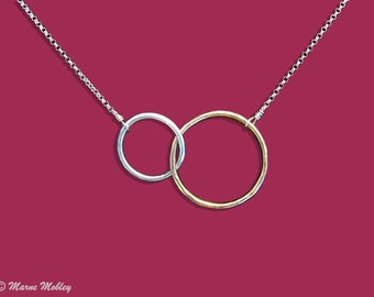 Sterling Silver & Gold Fill Linked Circle Necklace Handmade with Slight Hand Hammered Texture
