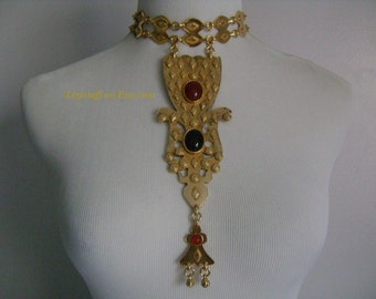 Dramatic Couture ACCESSOCRAFT NYC Huge Goldtone Etruscan Style Jewelry Red Carnelian&Black Onyx Cabochon Stone Drape Choker Runway Necklace!